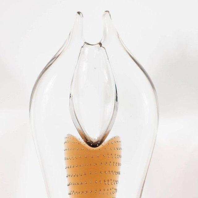 Mid-Century Modern Handblown Smoked Honey & Translucent Glass Vase by Beranek For Sale In New York - Image 6 of 9