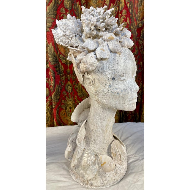 "1990s 1990s ""Sea Queen"" Woman Bust Sea Shell Sculpture For Sale - Image 5 of 11"