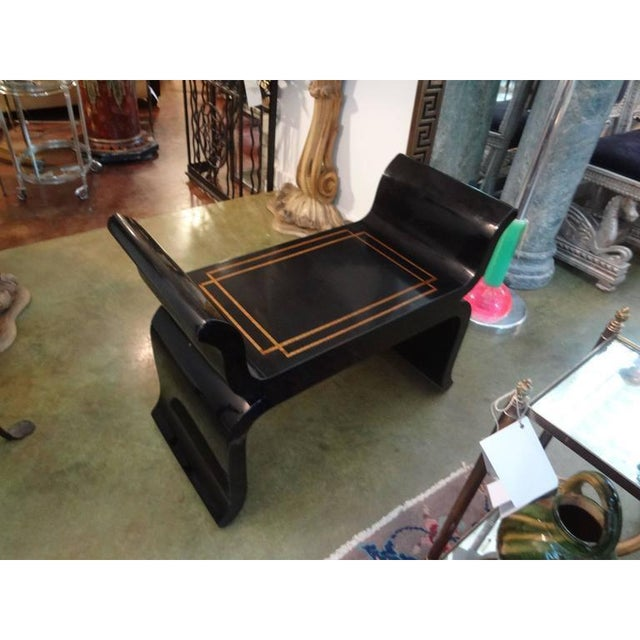 1960's Vintage James Mont Style Hollywood Regency Black Lacquered Benches- A Pair For Sale In Houston - Image 6 of 10