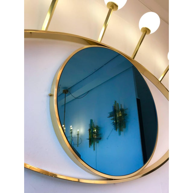 Brass Contemporary Brass Wall Lightning Sconces Mirror Blue Eyes, Italy For Sale - Image 7 of 10