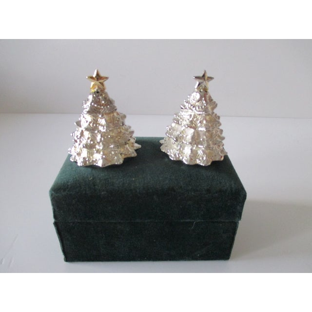 Vintage Christmas Trees Silver Plated Salt and Pepper Shakers Set For Sale In Miami - Image 6 of 6