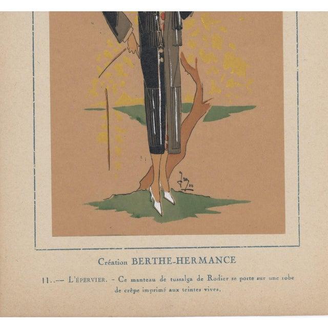 1924 Art Deco Fashion Pochoir Illustration For Sale - Image 4 of 4