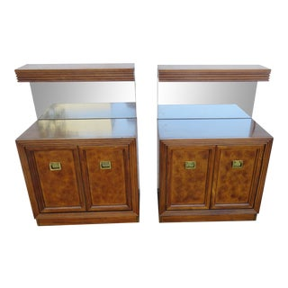 Hollywood Regency Burl Wood Pair of Large Nightstands Side End Tables For Sale