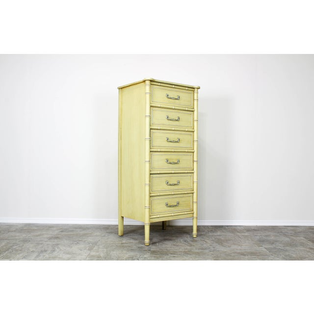 Faux Bamboo Mid Century Canary Yellow Faux Bamboo Lingerie Chest For Sale - Image 7 of 7