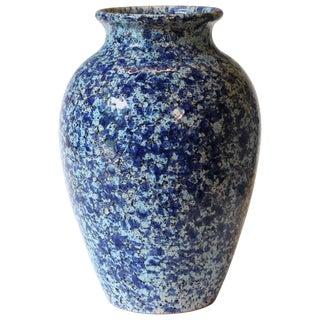 Vintage Italica Ars 1960s Italian Art Pottery Vase Mottled Blue and White Glaze For Sale
