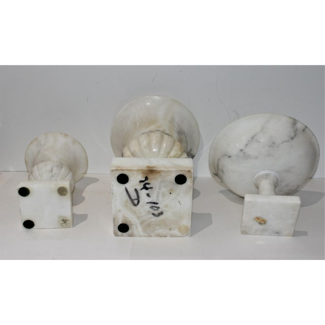 Vintage White Marble Urns and Compote - Set of 3 Pieces For Sale In West Palm - Image 6 of 12
