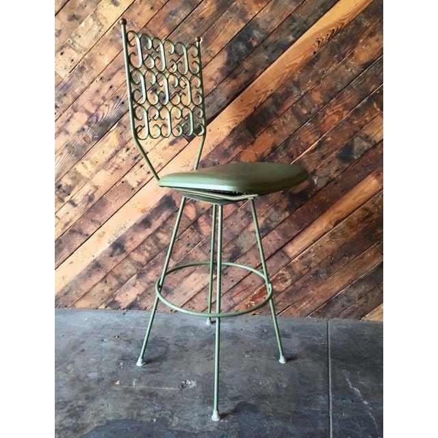Salterini Salterini Painted Wrought Iron Sage Green Barstool For Sale - Image 4 of 5