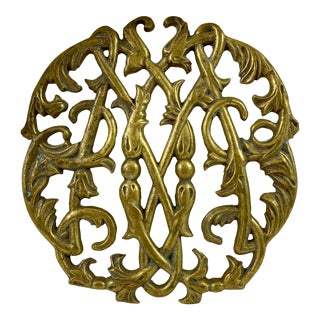 Vintage Traditional Brass Trivet For Sale