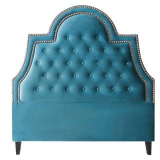 Hollywood Glam Queen Turquoise Velvet Headboard