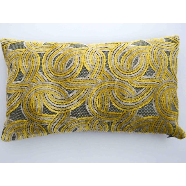 FirmaMenta Italian Damask Geometric Green & Yellow Velvet Lumbar Pillow For Sale - Image 4 of 6