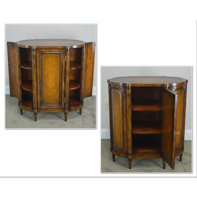 *STORE ITEM #: 19079 John Richards Regency Style Mahogany Leather Wrapped Console Cabinet AGE / ORIGIN: Approx. 10 years,...