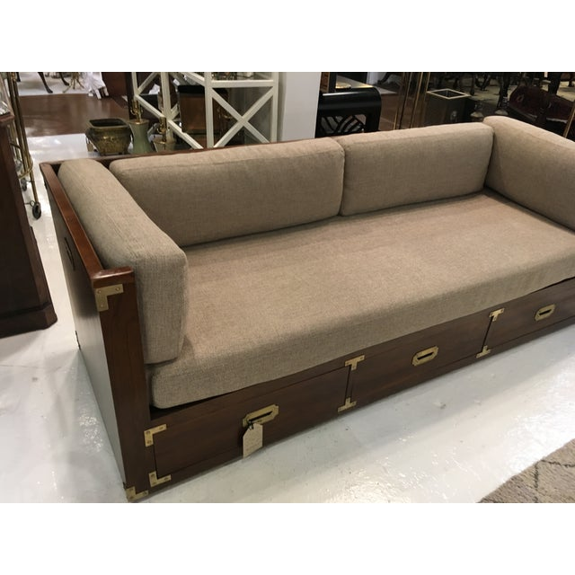 Campaign Style Sofa W/ Three Drawers For Sale - Image 4 of 8