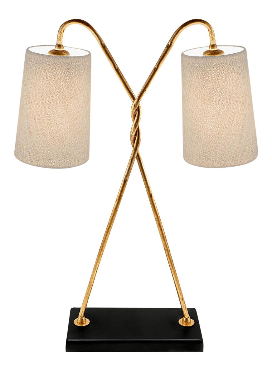 Art Deco Florentine Antique Gold Leaf Table Lamp With Shade