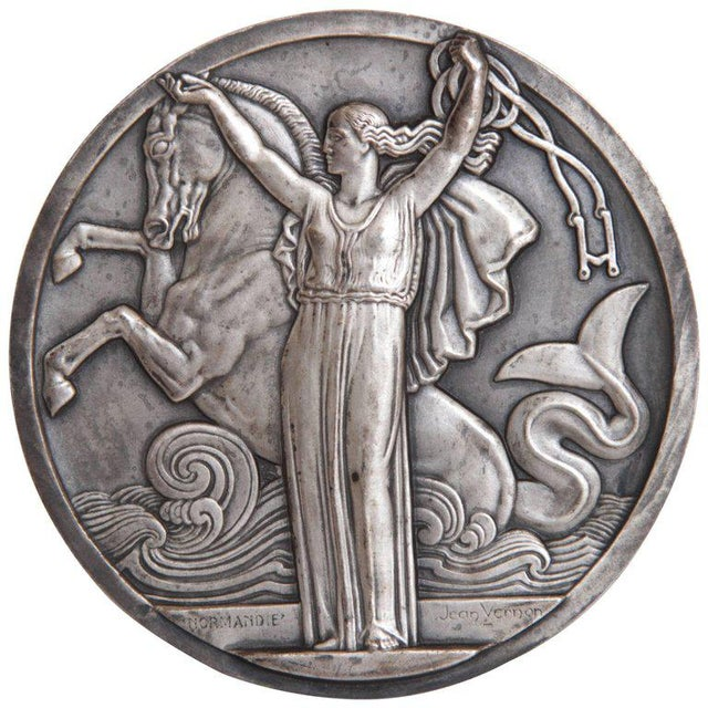 Art Deco French Normandie Medallion by Jean Vernon Silvered Bronze For Sale - Image 11 of 11