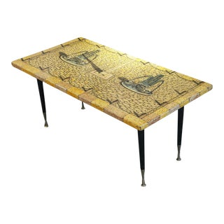 Coffee Table With Lithography on Wood For Sale