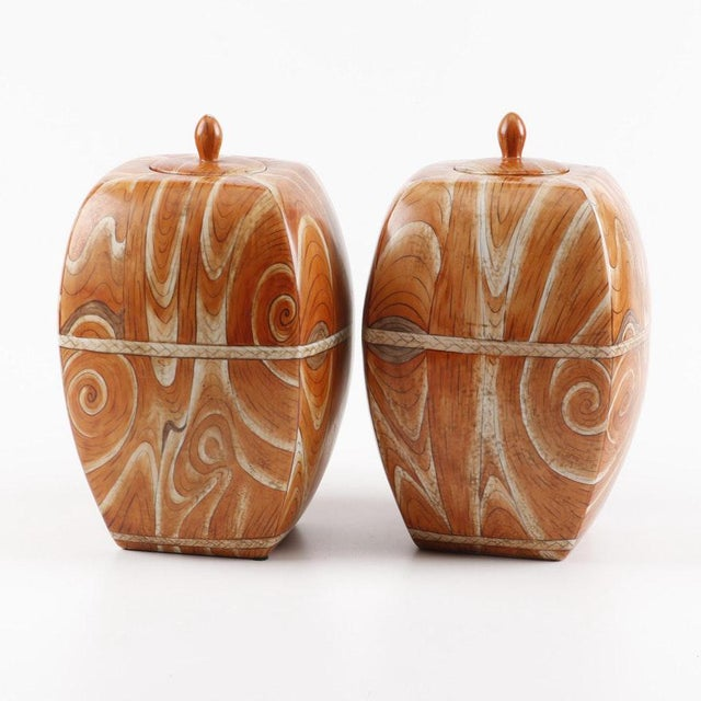 Late 19th to Early 20th Century Chinese Faux-Bois Lidded Jars With Apocryphal Yongzheng Reign Marks - a Pair For Sale In Boston - Image 6 of 7