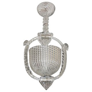 1940 Barovier Italian Art Deco Crystal Clear Murano Glass Basket Chandelier For Sale