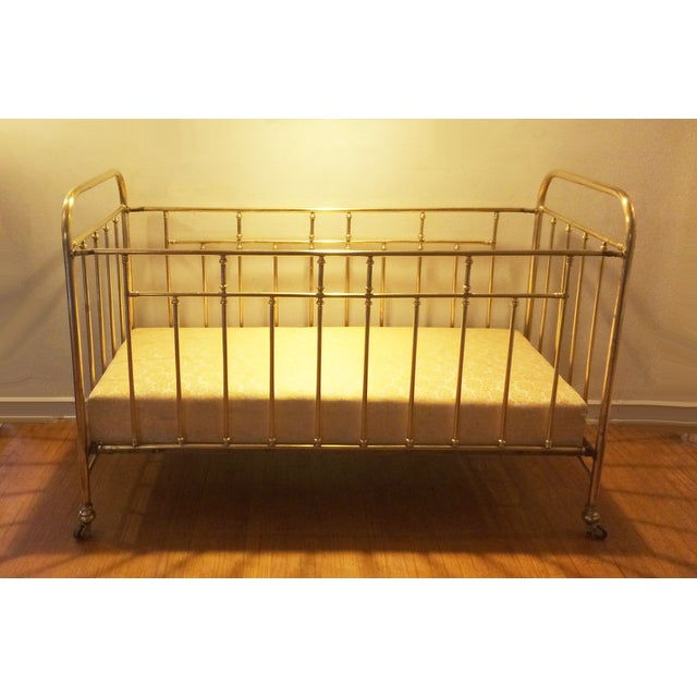 Farmhouse Vintage French Solid Brass Baby Crib For Sale - Image 3 of 11