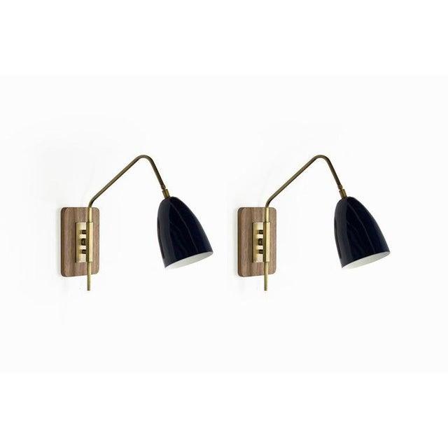 "Modern Brass & Midnight Enamel ""Elska"" Wall Sconces For Sale - Image 3 of 12"
