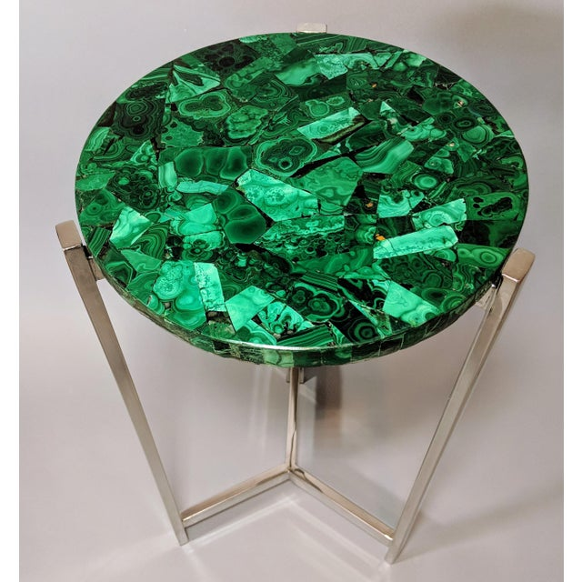 Early 21st Century Art Deco Malachite & Chrome Side Table For Sale - Image 5 of 13