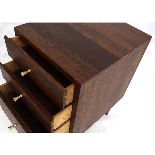 Mid-Century Modern all solid oil finish walnut three-drawer nightstand end occasional table.