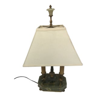 Green Onyx Antique Lamp With Shade For Sale