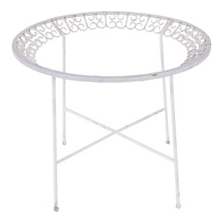 Madcap Cottage White Metal Patio Table For Sale