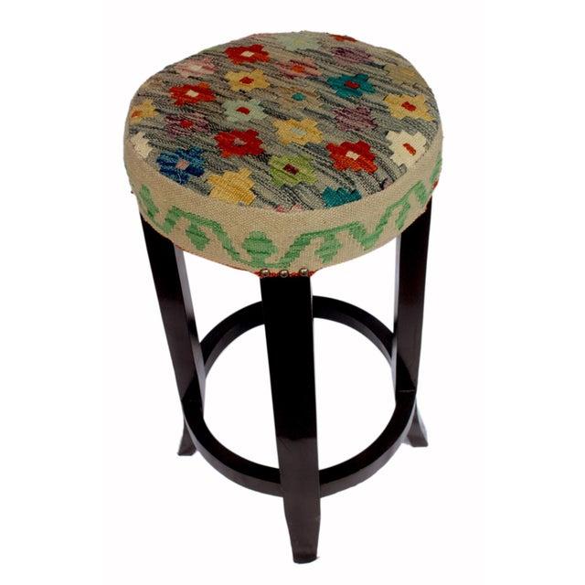 Textile Digna Lt. Blue/Gold Kilim Uphostered Handmade Bar Stool For Sale - Image 7 of 8