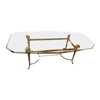 Manner of Jansen Octagon Glass Coffee Table Heavy Brass Ram Head For Sale