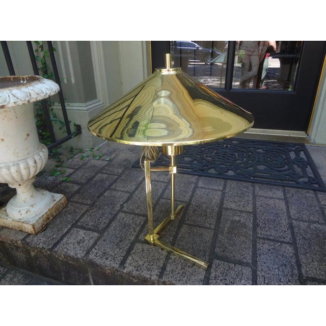 Vintage Polished Brass Lamp With Brass Shade For Sale - Image 9 of 13