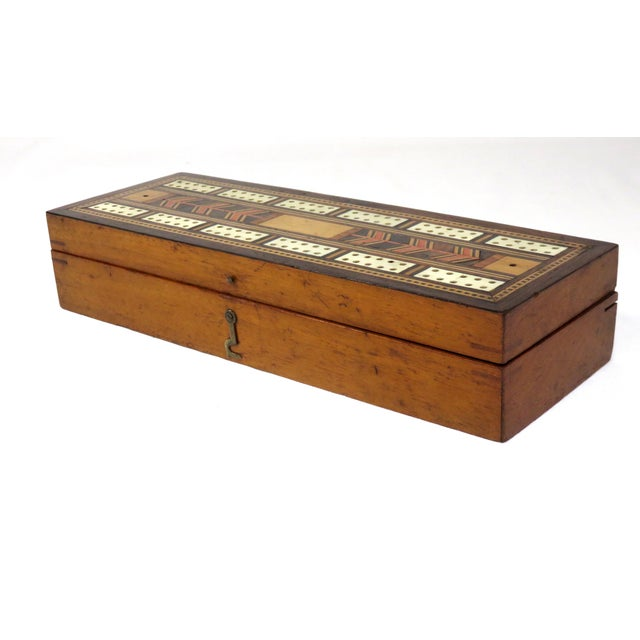 Traditional 19th Century Victorian Inlay Mahogany Cribbage Board Game Box For Sale - Image 3 of 13