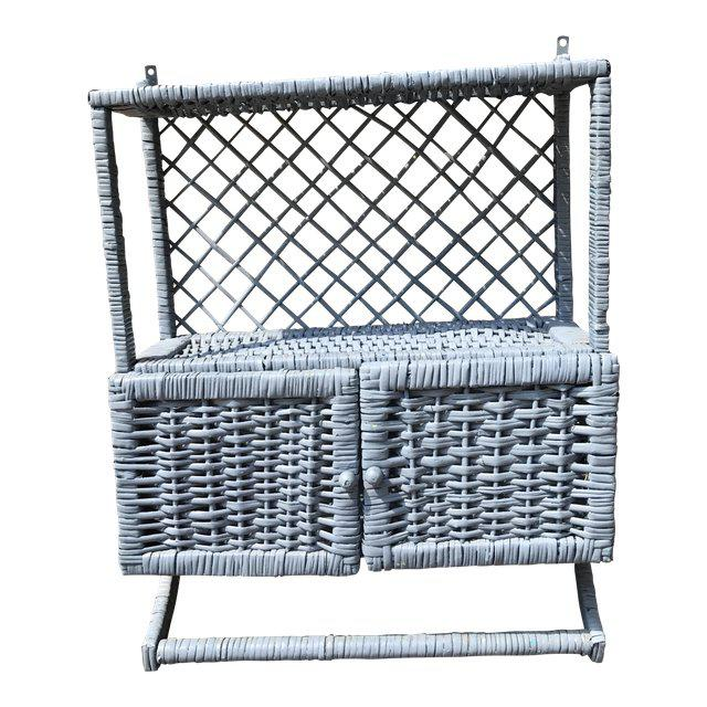 Vintage Blue Wicker Wall Cabinet With Towel Rack - Image 4 of 4