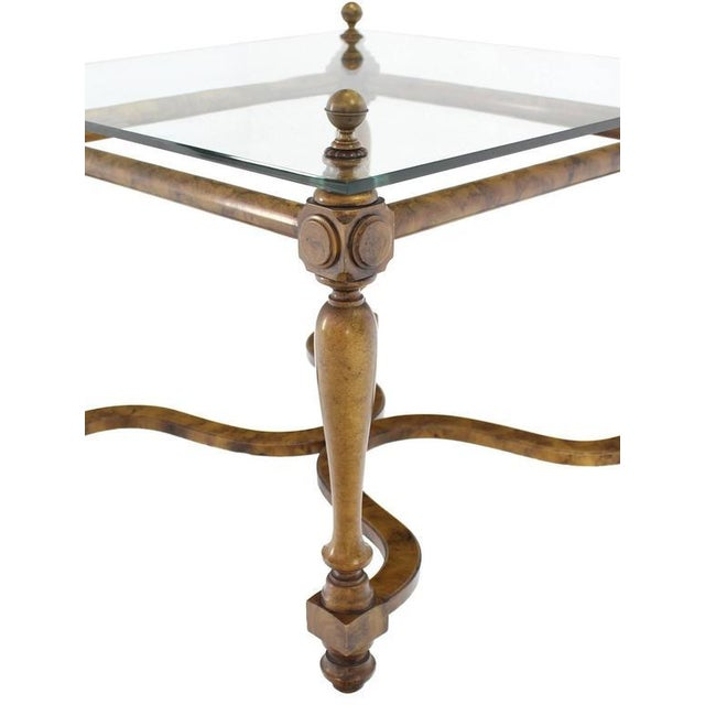 Mid-Century Modern Figural Base Glass Top Side End Table For Sale - Image 3 of 7