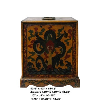 Chinese Distressed Yellow Black Dragon Graphic Trunk Box Chest Preview