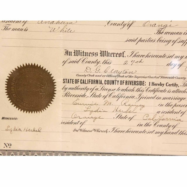 1925 Framed Marriage License For Sale In San Francisco - Image 6 of 7