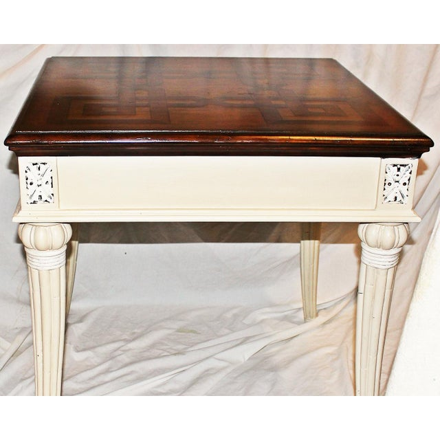 Parquetry-Top Painted Side-Table For Sale In West Palm - Image 6 of 8