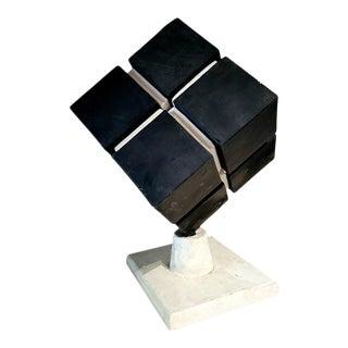 Signed Black and White Papier Mâché Cube Sculpture For Sale