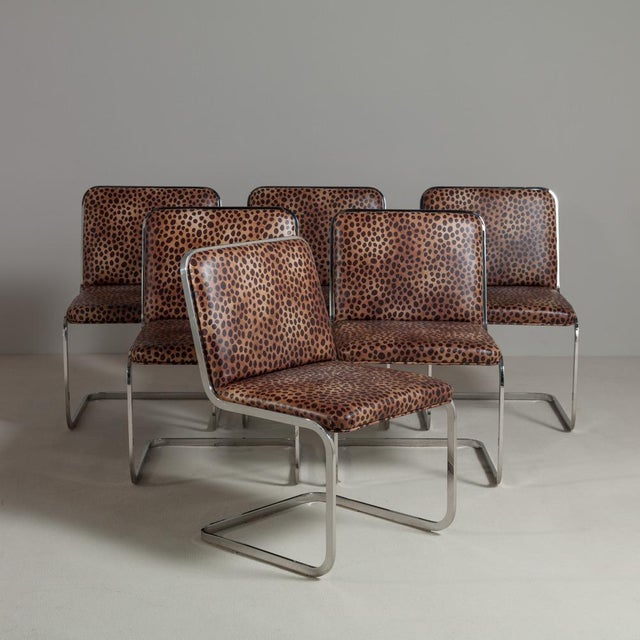 Set of Six Chromium Steel-Framed Cantilevered Dining Chairs, 1960s - Image 2 of 5