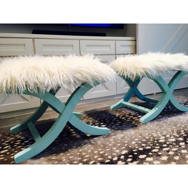 Aqua/Teal X-Benches with Faux-Mongolian Fur - Pair - Image 4 of 9