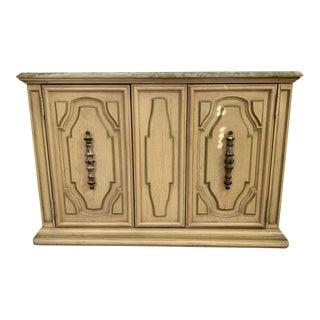 1970s Italian Regency Painted Sideboard With a Waterfall Edge Marble Top For Sale