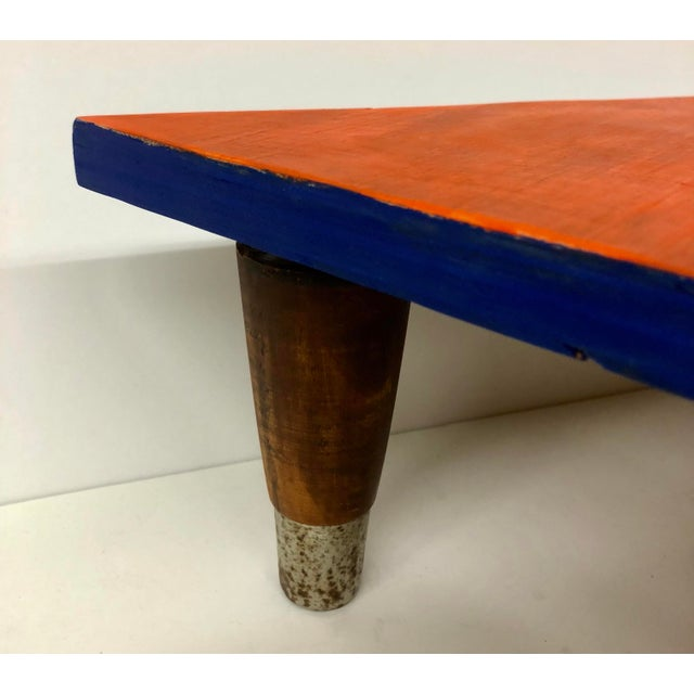 2010s Reclaimed Wood Triangle Low Table For Sale - Image 5 of 13