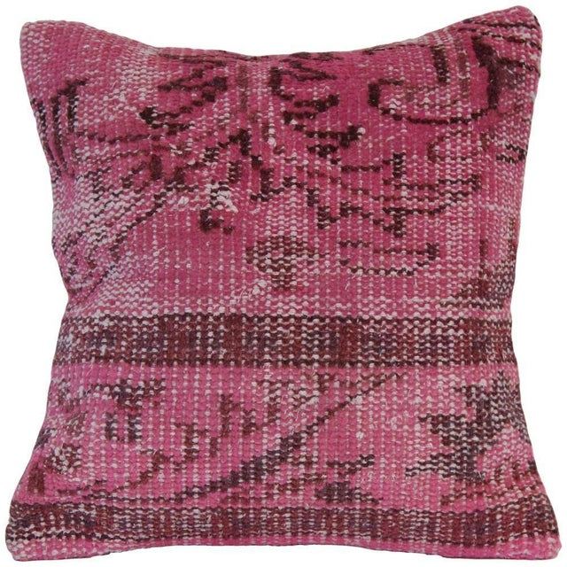 Pink Handmade Overdyed Pillow Cover For Sale