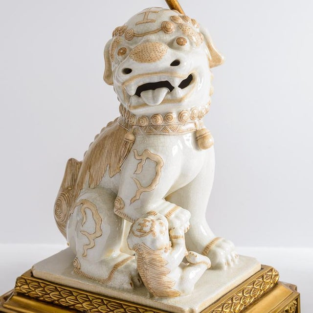 1960s Asian Foo Dog Porcelain Table Lamps on Bronze Stands, A-Pair For Sale - Image 5 of 13