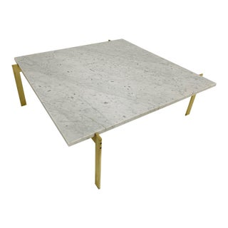 Brass and Carrara Marble Top Coffee Table Style of Poul Kjærholm For Sale