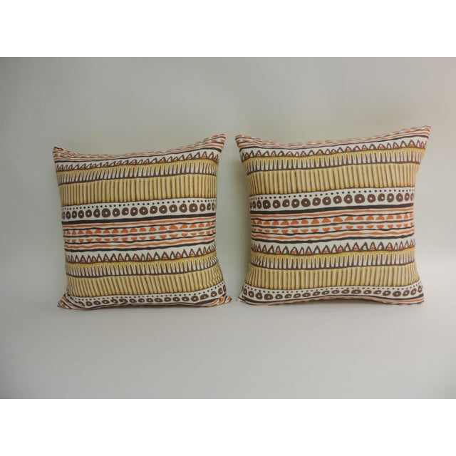 Pair of Vintage Mod Graphic Yellow, Brown and Orange Printed Decorative Linen Square Pillows - Image 5 of 5