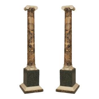 Pair of Fine Italian Neo-Classic Breche Marble Columns For Sale