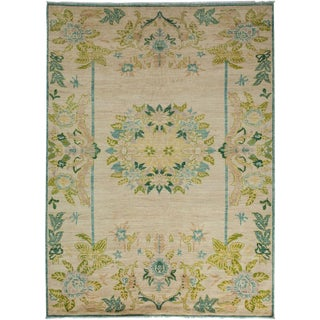 "Oushak, Hand Knotted Area Rug - 6' 7"" x 8' 7"" For Sale"