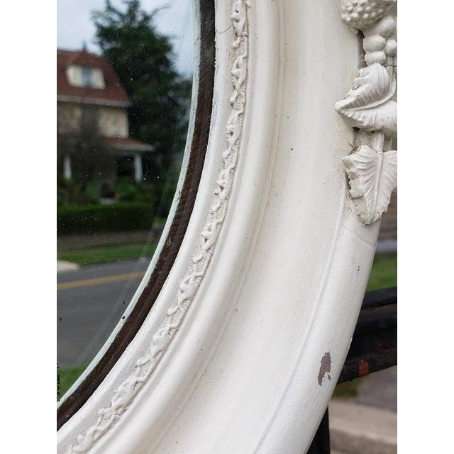 White Antique Shabby Chic Style Carved Wood Mirror For Sale - Image 8 of 12