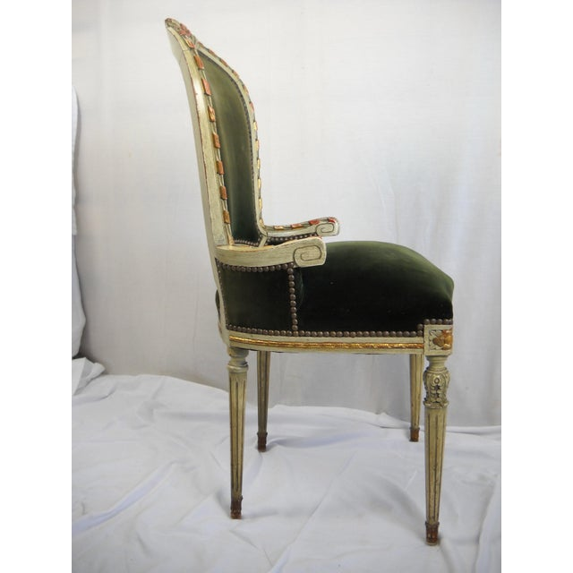 Green French Painted Gilt Dining Chairs - Set of 6 For Sale - Image 8 of 11