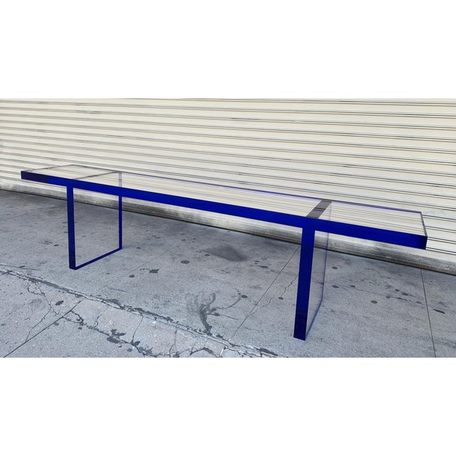Plastic Custom Bench in Deep Blue and Clear Lucite by Cain Modern For Sale - Image 7 of 13